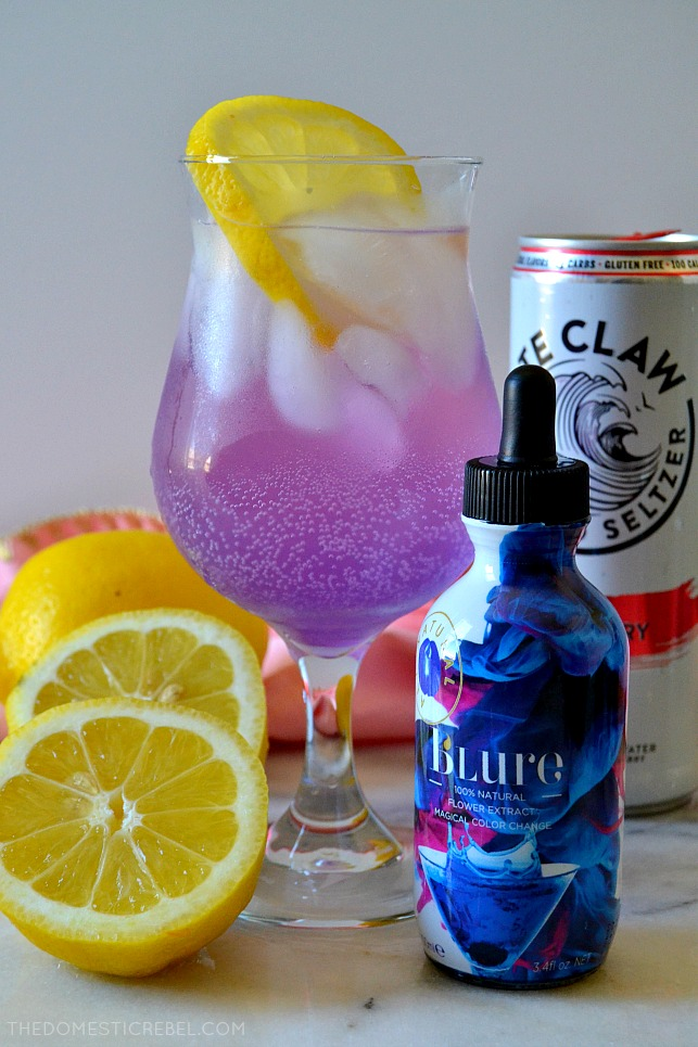 This White Claw Raspberry Lemonade Cocktail is trendy, bubbly, pretty and sweet, just like Libras in my Zodiac Cocktail Series! This gorgeous cocktail even has a magical color-changing component you can't miss!