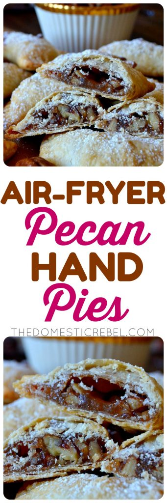 These Air-Fryer Pecan Hand Pies are absolutely irresistible and so easy! Made in either the air-fryer or the oven, these two-bite pies are buttery, flaky and filled with DELICIOUS gooey pecan pie filling! Such a great shortcut for the busy holiday seasons!
