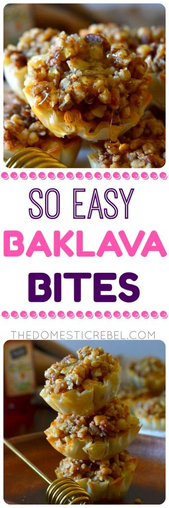 These Super Easy Baklava Bites taste like traditional baklava but are so much easier to make! Perfectly portioned and bite-size baklava cups filled with a spiced nut mixture and soaked in a honey lemon syrup. Perfect for parties!