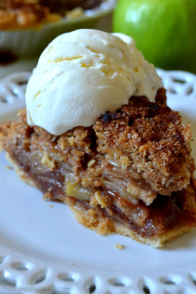 This Apple Crisp Pie is a unique combination between deep-dish apple pie and apple crisp. two fall favorite desserts! Deep dish, gooey apple pie topped with a buttery, crumbly crisp topping in every bite! You'll love this dessert mashup!