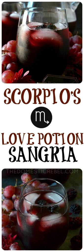 This Love Potion Sangria is rich, deep, sumptuous and spellbinding with pinot noir and dark fruit flavors! Perfect for moody, secretive Scorpios in my Zodiac Cocktail Series!