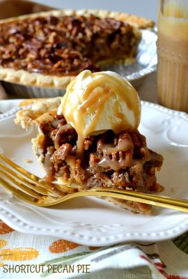 This Shortcut Pecan Pie has an amazing secret ingredient: jarred salted caramel sauce! The caramel makes this pie extra buttery, gooey, and caramel-y with amazing flavor and texture! You're going to want to make this delicious swap!!