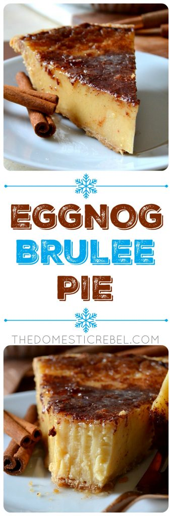 This Eggnog Brulee Pie tastes like creme brulee but in PIE form with a decadent, rich eggnog flavor! Silky smooth, creamy and indulgent eggnog custard with a bruleed crisp topping. So irresistible for the holidays!