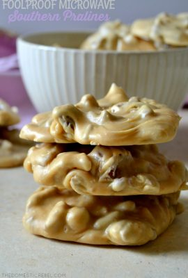 These Foolproof Microwave Southern Pralines are a MUST make! SO simple, made entirely in the microwave with NO candy thermometer needed! It makes buttery, melt-in-your-mouth, authentic tasting Southern Pralines that are to die for!