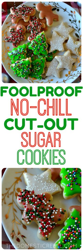 These Foolproof No-Chill Cut-Out Sugar Cookies yield perfect cut-out sugar cookies every time! No chilling, no stress, and the easiest royal icing glaze to finish them off!
