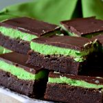 These Perfect Mint Chocolate Brownies are going to be your new go-to! Fudgy, ultra chocolaty brownies, a fluffy mint buttercream and rich chocolate layers complete these delicious, crowd-pleasing brownies!