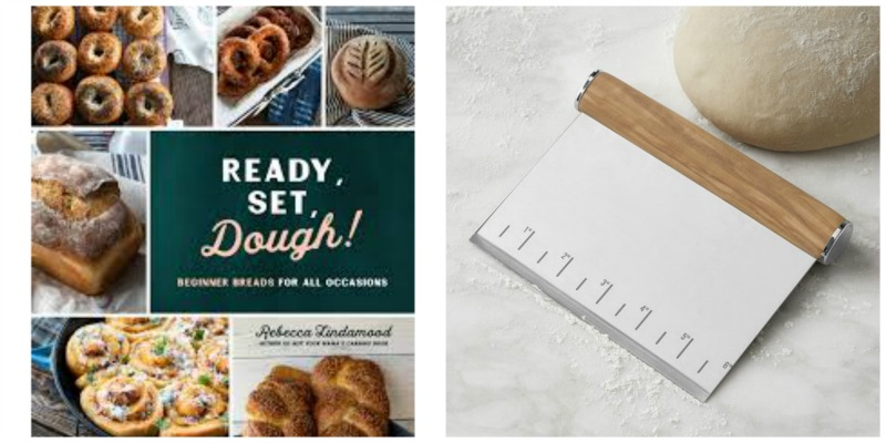 dough baking cookbook and bench scraper photo collage