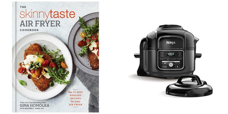 air fryer cookbook and air fryer appliance photo collage