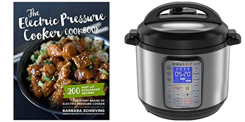 pressure cooker cookbook and pressure cooker appliance photo collage