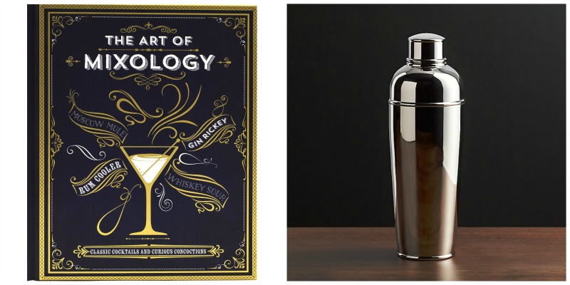 mixology cookbook and cocktail shaker photo collage