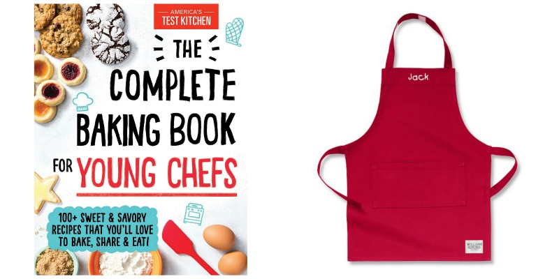 kid baking cookbook and kid apron photo collage