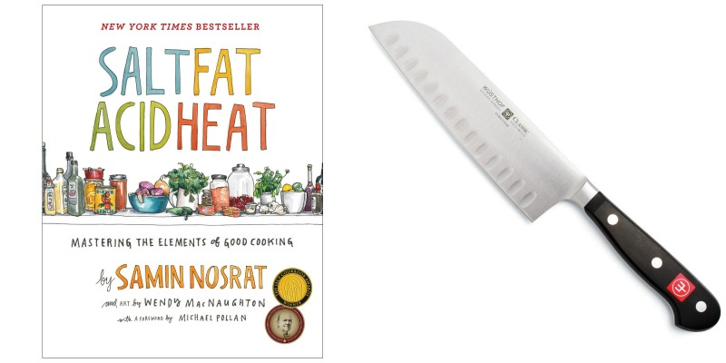 cookbook and chef's knife pairing photo collage
