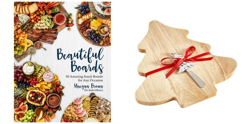 beautiful boards cookbook and christmas tree cutting board collage