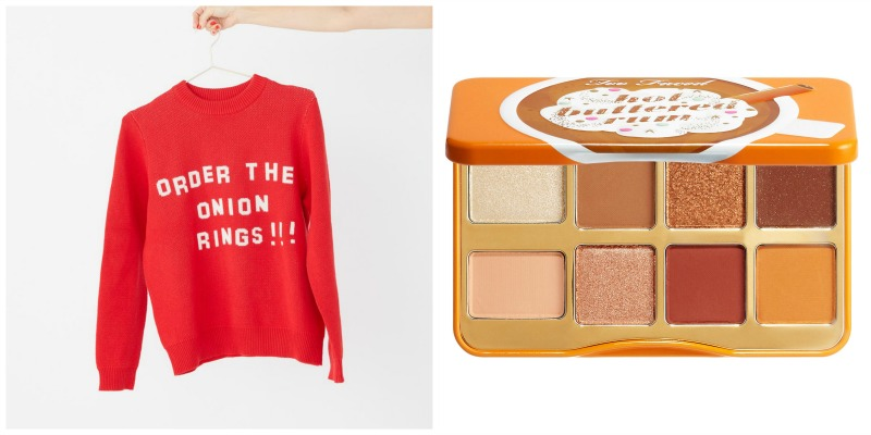 onion ring sweater and eyeshadow palette collage