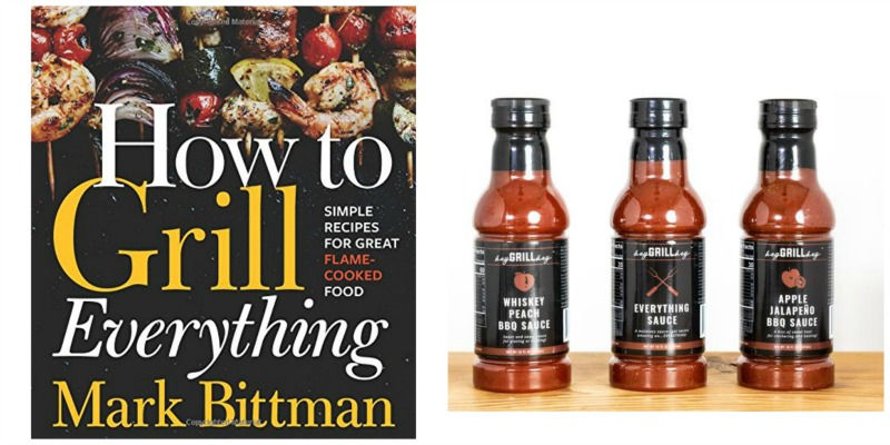 grilling cookbook and bbq sauce bundle collage