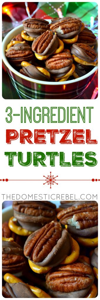 These 3-Ingredient Pretzel Turtles are the EASIEST Christmas candy to make! Just three simple ingredients you probably have make an irresistible sweet and salty chocolate/caramel/pretzel flavor bomb in minutes! Plus, it makes a big batch!