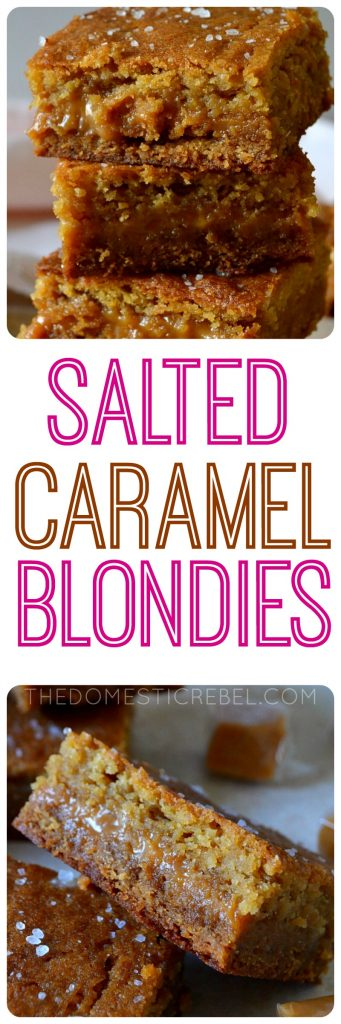 salted caramel blondies collage