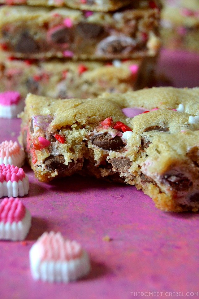 valentine m&m cookie bar with bite missing