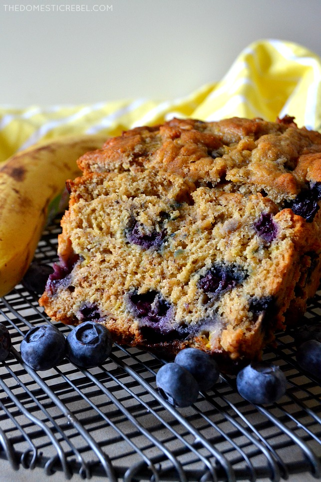 This Blueberry Banana Bread is the BEST banana bread recipe EVER! With a secret ingredient that makes it SUPER moist, tender, soft and extra banana-flavored. This bread is easy, addictive and amazing!