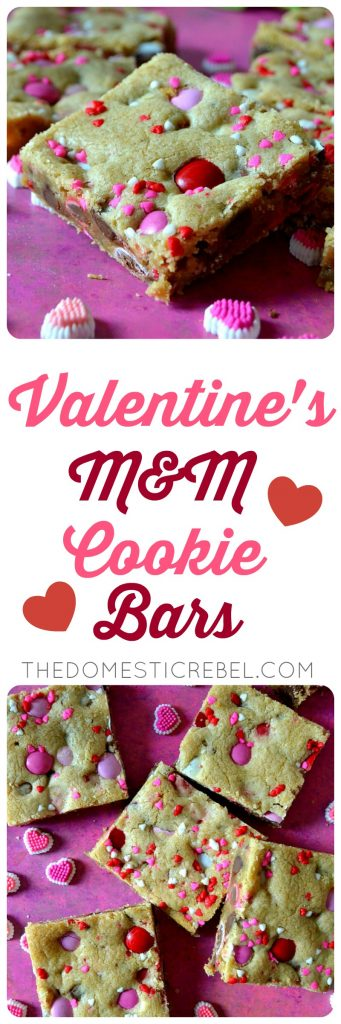 valentine m&m cookie bars collage