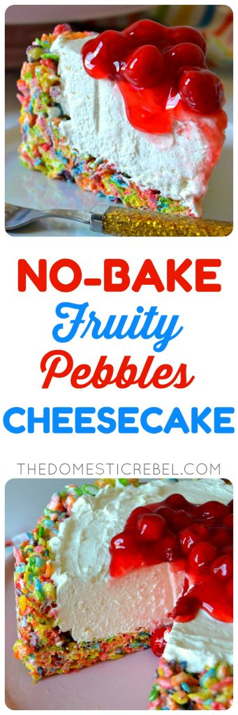 no-bake fruity pebbles cheesecake collage
