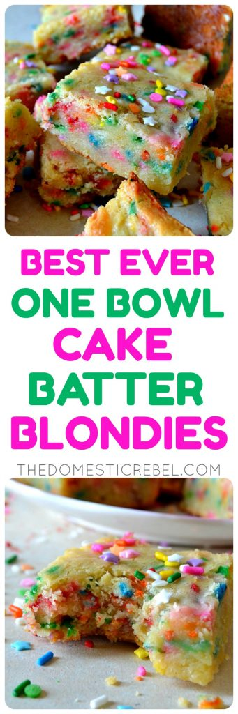 These One-Bowl Cake Batter Blondies are the BEST EVER!! Super fudgy, rich, soft and chewy with tons of rainbow sprinkles, these easy bars are made in ONE bowl and taste like Funfetti cake batter!