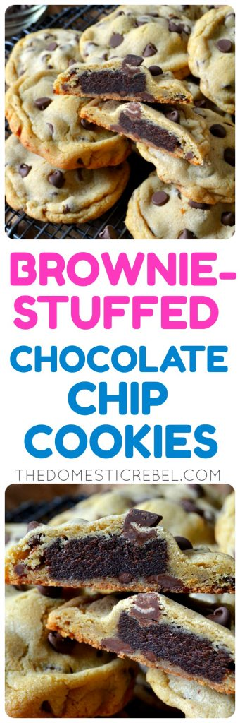 These Brownie-Stuffed Chocolate Chip Cookies are EXTRAORDINARY! Soft, thick and chewy buttery chocolate chip cookies are stuffed with a fudgy baked brownie square for the ultimate dessert mashup! Super easy, NO CHILLING TIME, and a total crowd-pleaser!