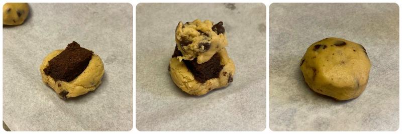 diagram on how to make brownie stuffed cookies