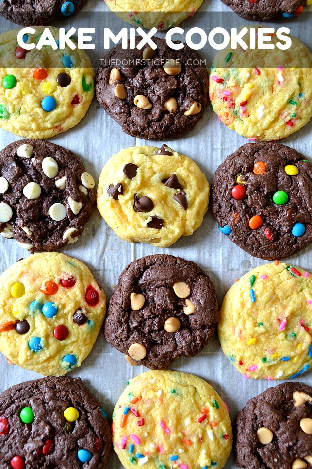 Cake Mix Cookies arranged on parchment paper