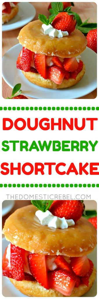 Doughnut Strawberry Shortcake is a fun and unexpected twist on a classic no-bake dessert, combining glazed yeast doughnuts with fresh whipped cream and juicy strawberries. Easy, impressive, fast and so delicious!