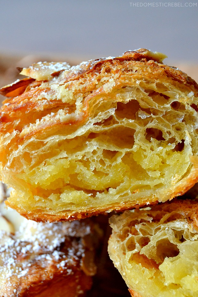 closeup of inside of almond croissant