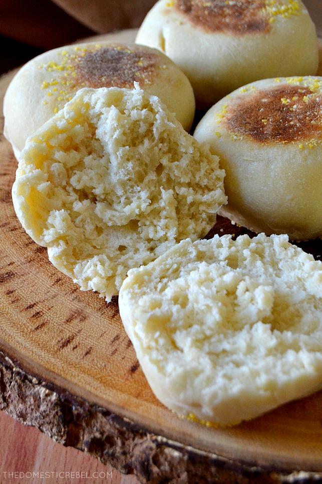 english muffins on wood stand