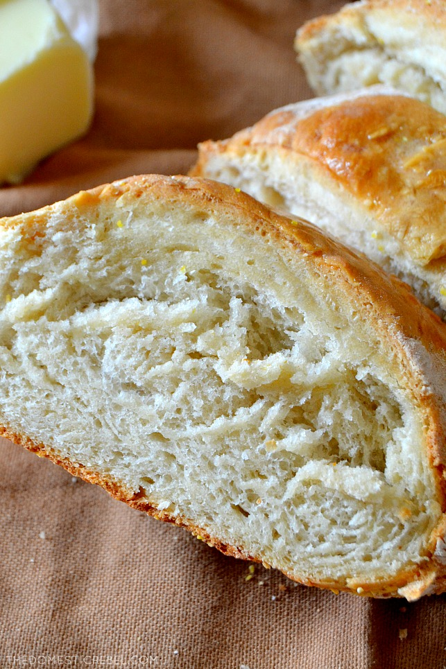 closeup of slice of french bread