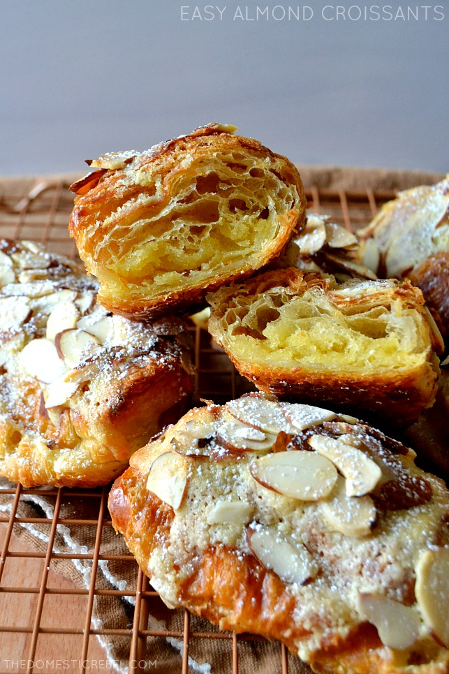 easy almond croissants arranged on wire rack