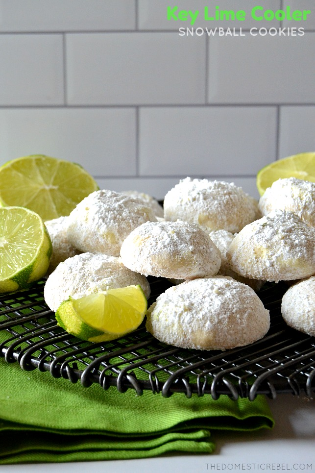 key lime cooler cookies on wire rack with limes and green fabric