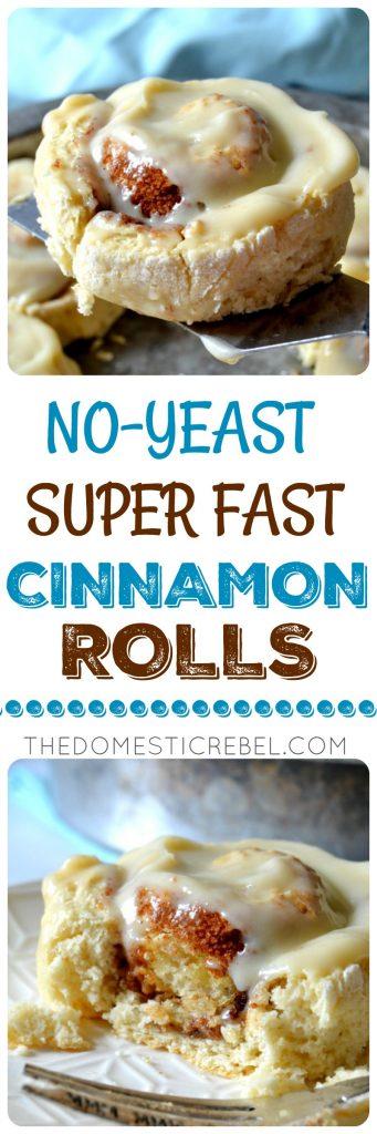 no-yeast super fast cinnamon rolls collage