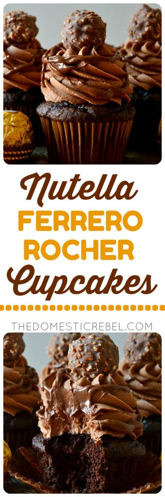 These Nutella Ferrero Rocher Cupcakes are ultra rich, super fudgy, moist, chocolaty and so delicious! The Nutella buttercream frosting is to die for! Such an easy and impressive cupcake!