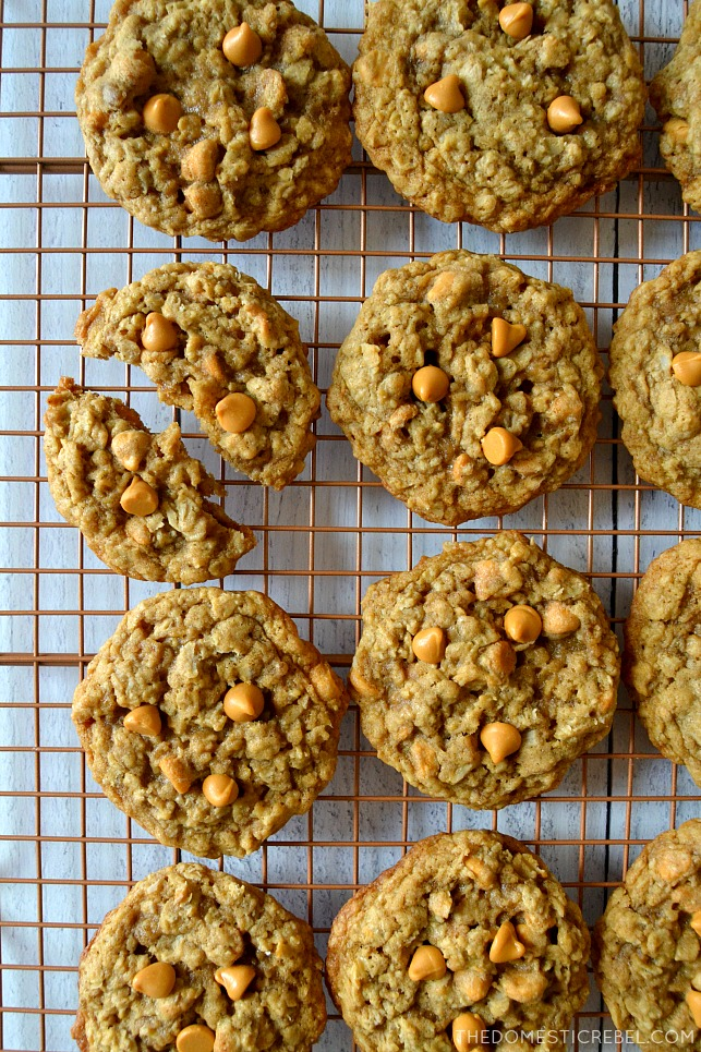 oatmeal scotchie cookies on wire rack