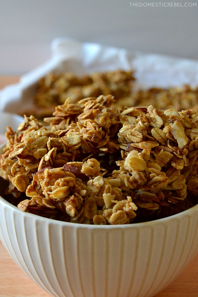 closeup of granola clusters in white bowl