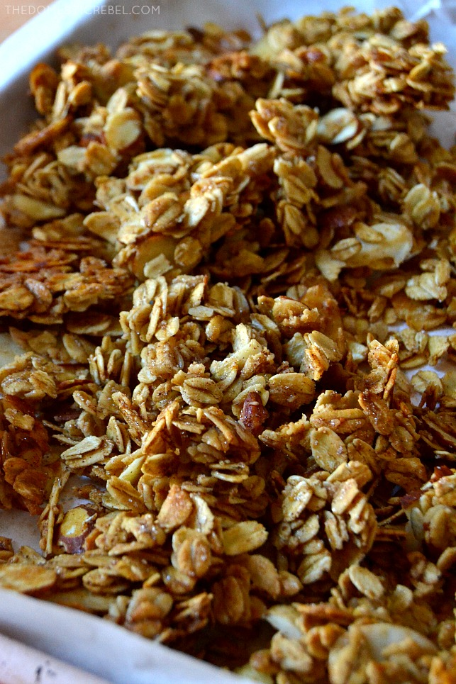 granola clusters on baking sheet