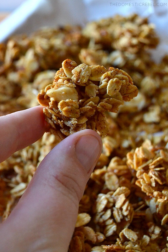 author holding a granola cluster