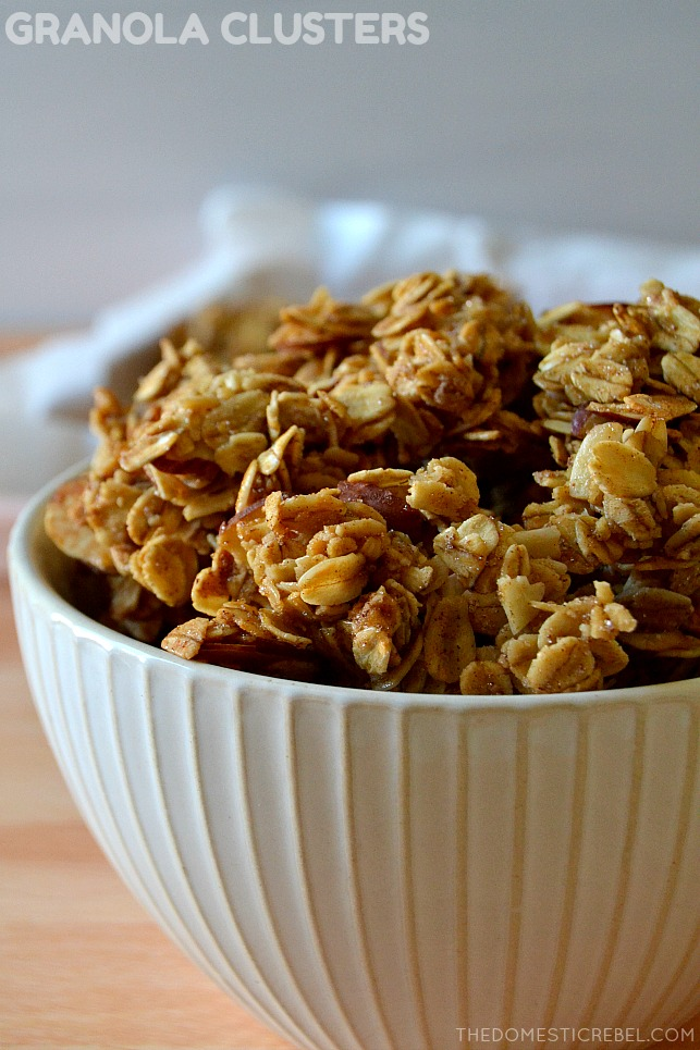 granola clusters in white bowl