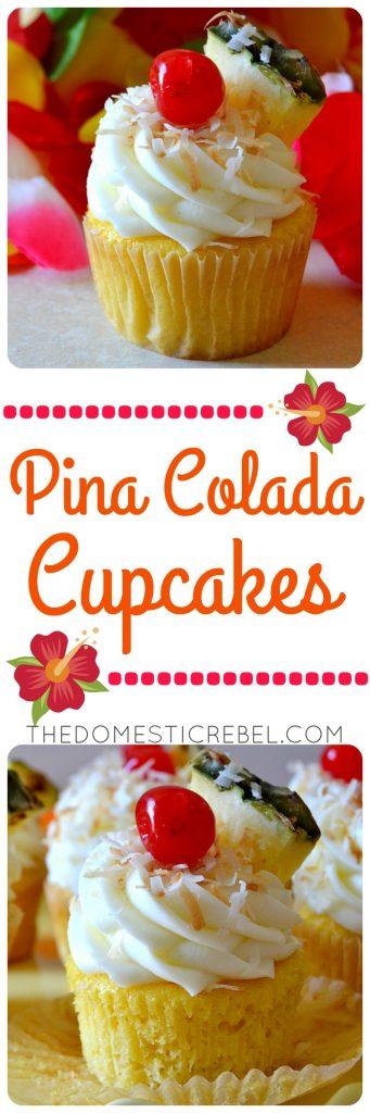 pina colada cupcakes collage