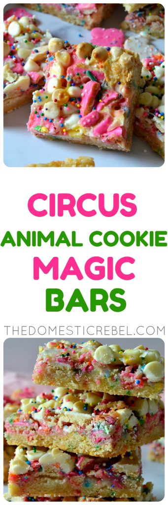 Circus Animal Cookie Magic Bars collage