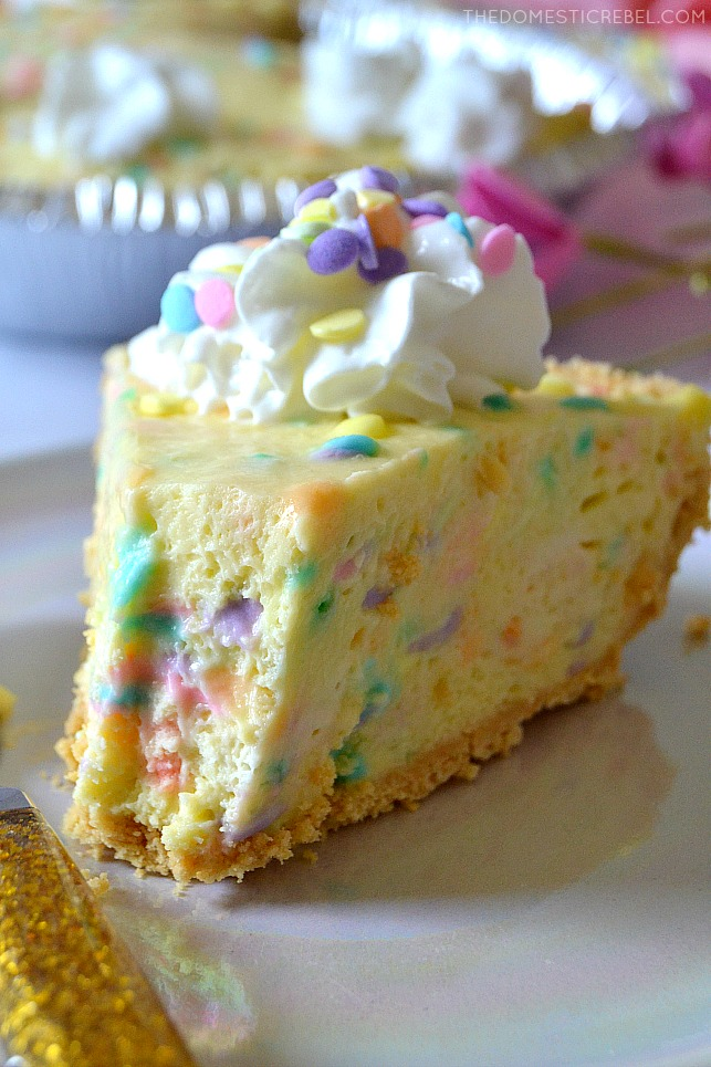 No-Bake Cake Batter Pie with bite mark on a plate