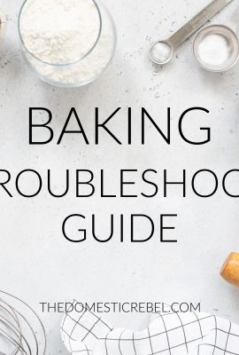 Baking Troubleshoot Guide photo with baking ingredients on marble background