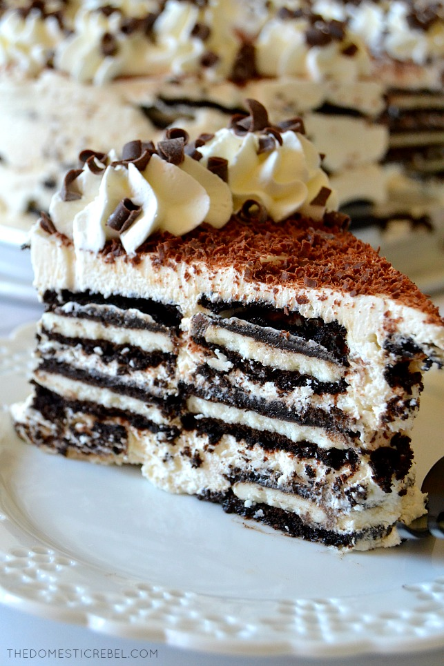 closeup slice of tiramisu oreo icebox cake on white lace plate