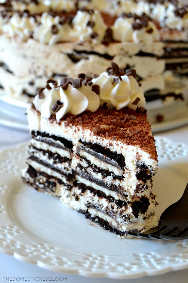 Tiramisu Oreo Icebox Cake slice on white plate with black fork