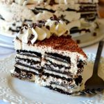 photo of tiramisu oreo icebox cake on white plate