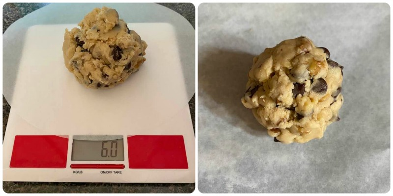 photo of chocolate chip walnut cookie dough on scale and on parchment